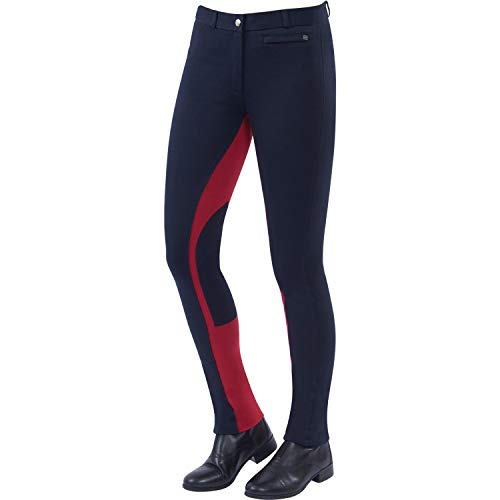 Dublin Childs Supa Fit Euro Seat Pull On Jodhpurs 21 inch Navy Red Fit Breeches