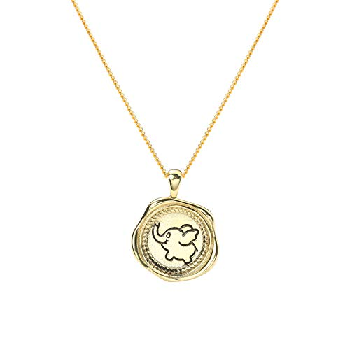 Sterling Silber Golden Cartoon Baby Elefant Anhänger Halskette unregelmäßige Design Medaille Halskette für Frauen mit Geschenk-Box (Größe Elefant Leben Gefüllte)