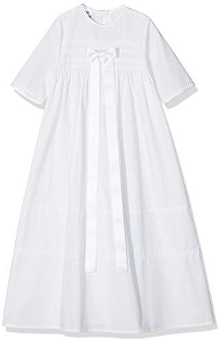 Bateo Design Baby Taufkleid aus Baumwolle Simon mit Schleife Weiß 62