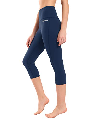 Ogeenier - Sporthose Damen Sport Leggings 3/4 Yoga Capri Leggings Hohe Taille Yogahose Laufhose Fitnesshose Jogginghose Training Sport Tights mit Handytasche (Marine Blau)