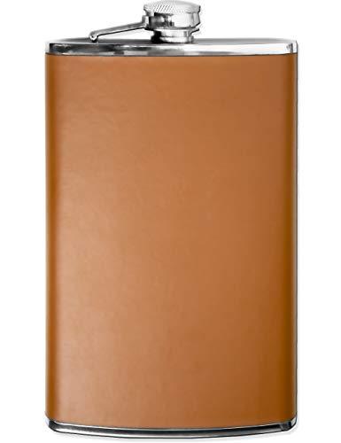 Outdoor Saxx® - Edelstahl Flachmann XXL Leder Design | große Taschen-Flasche | 750ml Schraub-Verschluss, braunes Kunstleder