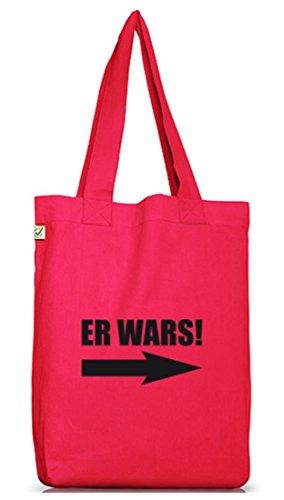 Shirtstreet24, ER WARS! Jutebeutel Stoff Tasche Earth Positive Hot Pink