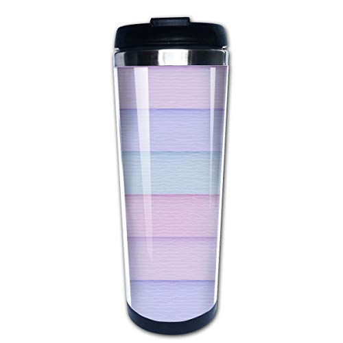 Cavdwa Pastel Color Stripes 13.5 Oz Insulated Stainless Steel Coffee Mug with Lid, Double Stainless Steel Sessile