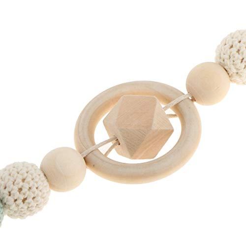 DDLBiZ 1 Stück Baby Bei?ring mit H?keln Perlen & Clip Babyschnullerkette Schnullerkette - Stil 4