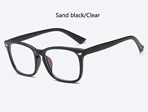 Sonnenbrille Lila Brillengestell Square Brillengestell Klare Linse Nerd Black Sand Schwarz Klar Sonnenbrille Zwei Ton Niet Brillen Frauen