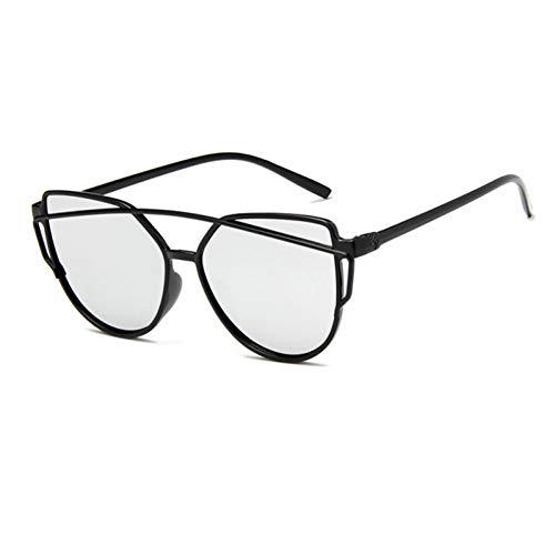 CjYTYJ Cat Eye Sonnenbrille Frauen Doppelstrahl Sonnenbrille Weibliche Retro Beschichtung Spiegel Gläser Flachbildschirm Objektiv