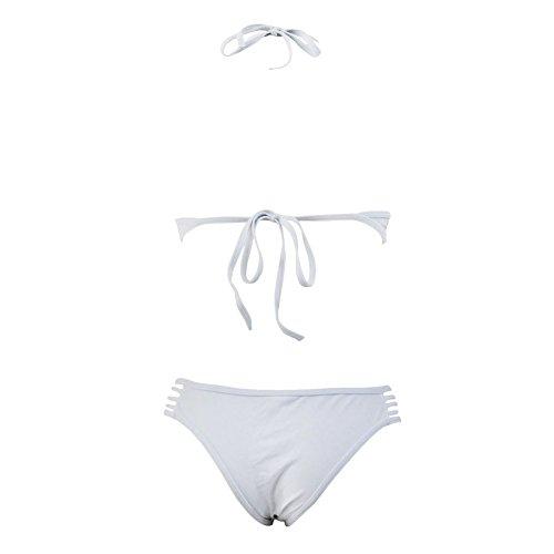 Erica Damen Halfter Bikinis High Neck Zwei Stück Set Badeanzug Hollow Wireless Gepolsterte BH Polyester White