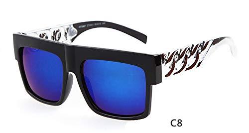 KONGYUER Sonnenbrillen, Brillen,Sonnenbrille Männer Frauen Designer Promi Hip Hop Flat Top Retro Frame Sonnenbrille Silber Blau