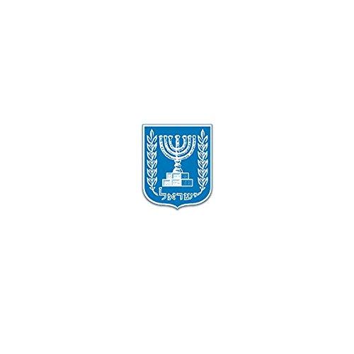 Aufkleber / Sticker -Israel Wappen Staat Republik Vorderasien Arabisch Jerusalem Menora Olivenzweig Abzeichen Emblem 6x7cm #A3438