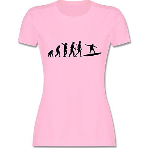 Evolution - Surfer Evolution - tailliertes Premium T-Shirt mit Rundhalsausschnitt für Damen Rosa