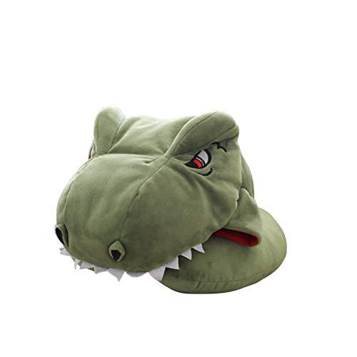 Amosfun Dinosaurier-Nackenkissen mit Kapuze, Plüsch, Tier-Reisekissen, gefüllt, Spielzeug für Kinder und Erwachsene