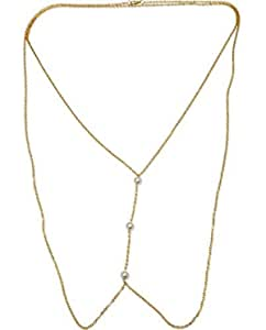 The Bling Stores Golden Pearl Sexy Body Chain Necklace for Girls & Women, Pearl Body Chain, Pearl Body Jewellery