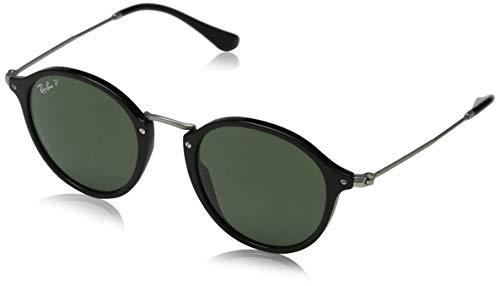 Ray-Ban Unisex Sonnenbrille Rb 2447, Mehrfarbig (Gestell: Schwarz/Silber, Gläser: Polarized Grün Klassisch 901/58), Medium (Herstellergröße: 49)