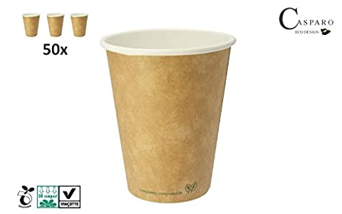 50 Eco-Friendly Coffee-To-Go Cups (200ml / 8oz) | Disposable & Sustainable | 100% Compostable and no unhealthy Chemicals | Mug for Hot Beverages | Casparo Eco