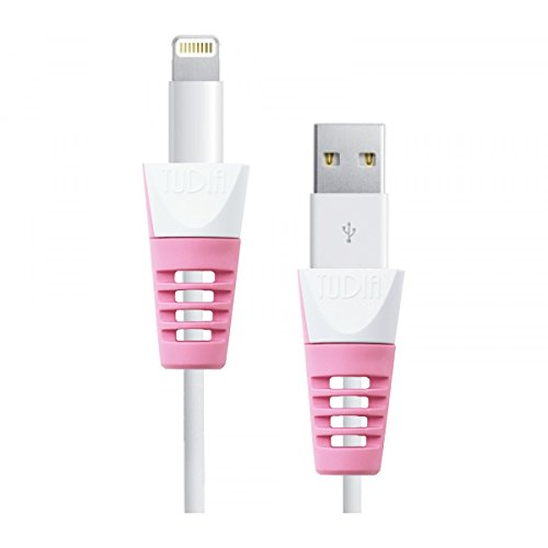 Tudia Klip scatto cavo di ricarica Schermo per Apple Lightning e cavi di ricarica 30 pin per iPod/iPhone/iPad Pink (2pcs)