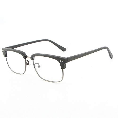 Easy Go Shopping Brillengestell Rahmen Holz Vintage Unisex Männer und Frauen handgefertigt Platte Holzmaserung Flache Gläser Sonnenbrillen und Flacher Spiegel (Color : 02 schwarz, Size : Kostenlos)