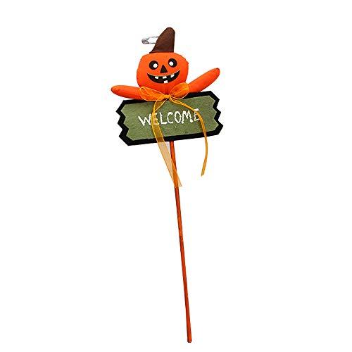 koration Garten,Willkommen Pumpkin Yard Zeichen Halloween Süßes Oder Saures Party Outdoor Dekoration C Holz Kürbis Stake Halloween Zeichen,Orange 15 * 45cm ()