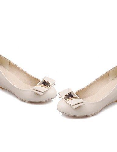 WSS 2016 Chaussures Femme-Bureau & Travail / Habillé / Décontracté-Noir / Blanc / Beige-Talon Compensé-Compensées / Escarpin Basique / Bout Arrondi beige-us9 / eu40 / uk7 / cn41