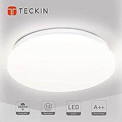 Luminaire plafonnier LED lampe plafond,Luminaire salle de bain,TECKIN 24W 2000LM Blanc Naturel 4500K Applicable à la salle de bain la chambre la cuisine le salon le balcon et le couloir