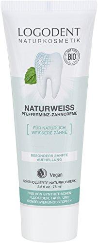 LOGONA Naturkosmetik LOGODENT Pfefferminz Zahncreme, Sanfte Aufhellung der Zähne, Natürliches Weiß, Vegan, 75 ml