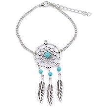 Pulsera de Moda con Abalorios y Diseño de Plumas,Alloy Feather Tassel Bracelet Fashionable Dreamcatcher Bracelet