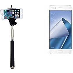 PerAsus ZenFone 4 Pro Bastone Selfie Selfiestick Asta Autoritratto telescopica Fotografico Monopiede Selfie Stick perAsus ZenFone 4 Pro nero - K-S-Trade(R)