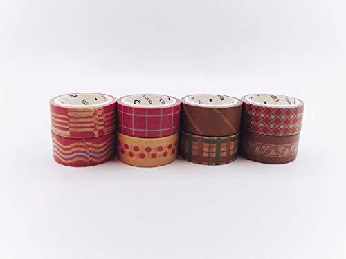 Washi-Tape, Orange, Braun und Blau, 8 Rollen für Sammelalben, Geschenkpapier, Karten, Wandbordüren, Basteln und Dekorieren - Braune Streifen Schneiden