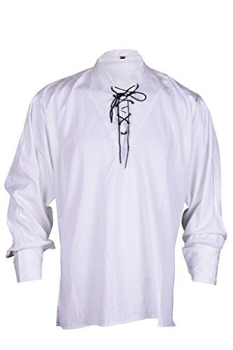Renaissance beiläufige Sommer-Piraten-Hemd-Weiße Farbe Mittelalterlichen Kostüme Männer Medium Size (Renaissance Kostüme Männer)