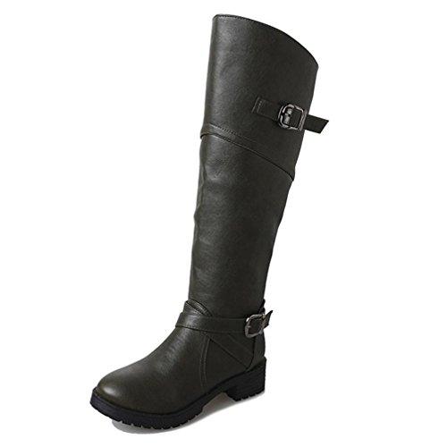 Women Boots Shoes, SOMESUN Donne di cuoio Cavaliere Buckle Faux delle signore stivali piatti Martin Shoes Green