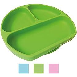 Twinkle Plato de Silicona con Ventosa para Bebe - Plato Infantil Antideslizante con Succion para BLW y Aprendizaje Bebes (Verde)