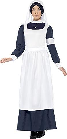 Smiffys Déguisement Femme, Infirmière de la Grande Guerre, avec robe et coiffe, Taille 40-42, Couleur: Blanc, 43430