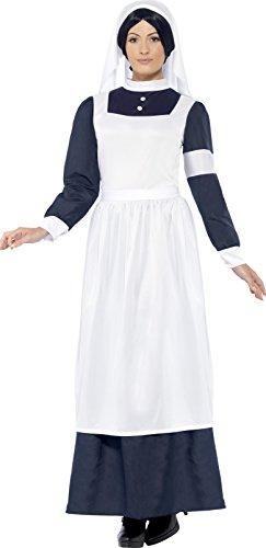 t War Krankenschwester Kostüm mit Dress und Kopfstück, Weiß/Blau, Gr. XL (Blaue Krankenschwester Kostüm)