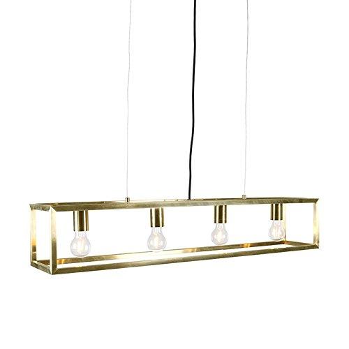 QAZQA Moderne Suspension/Lustre / Luminaire/Lumiere / Éclairage Cage 4 or Métal Doré Rectangulaire E27 Max. 4 x 60 Watt/intérieur / Salon/Cuisine