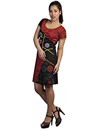 Damen Kurzarm-Kleid mit bunten Flecken Print & Stickerei