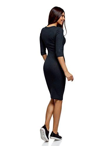 oodji Ultra Damen Mittellanges Geripptes Kleid Schwarz (7929M)