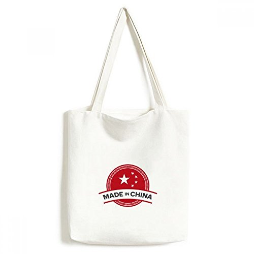 Made in China National Emblem Sterne rot Banner Chinesische Modisches Design Leinwand Tasche Umweltfreundlich Tote groß Geschenk Kapazität Einkaufstaschen