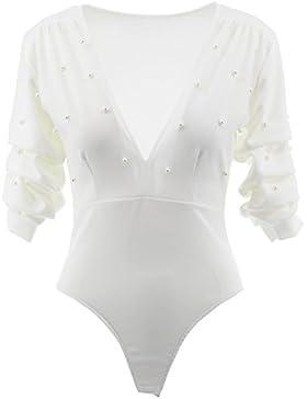 Netgozio La Camiseta de Las Mujeres de Cuerpo Corto Atractivo encrespada con Perla Jersey Gran