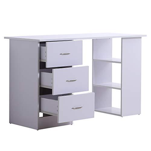 Scopri offerta per HOMCOM Scrivania Porta Computer PC con 3 Cassetti 3 Ripiani per Ufficio Camera in Legno 120x49x72cm Bianco
