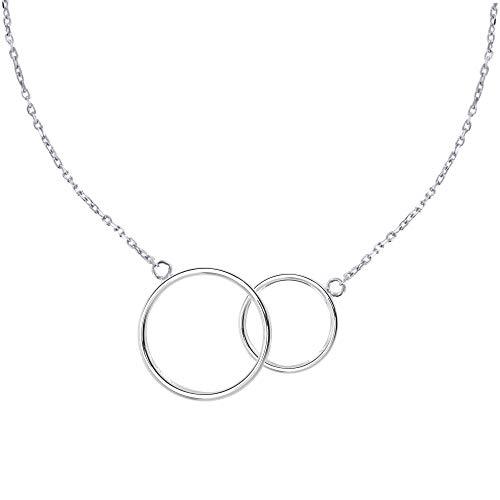 Schmuck Les Poulettes - Sterling Silber Halskette Zwei Kreise