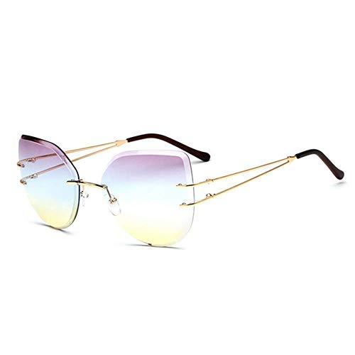 XHCP Frauen Klassische Sonnenbrille rahmenlosen Stil Frauen Katze Augen Sonnenbrille farbige Linse UV400 Schutz Fahren Radfahren Laufen Angeln Golf (Farbe: C2)