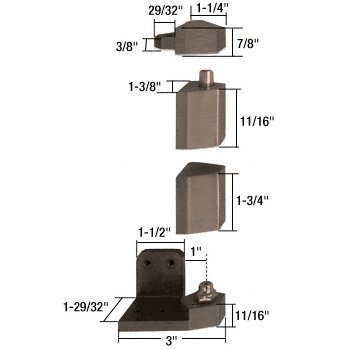 Crl Duranodic Bronze (C.R. LAURENCE 41J25R313 CRL Jackson Duranodic Bronze Right Hand 3/4 Offset Pivot Hinge Set- Flush With Frame Face by CR Laurence)