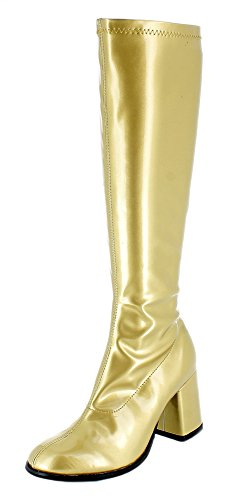 Das Kostümland Gogo Damen Retro Lackstiefel - Gold Gr. 36 - Tolle Schuhe zur 70er 80er Jahre Disco Hippie Mottoparty (Gold Kostüm Stiefel)