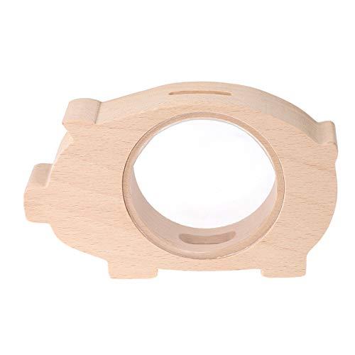 Hucha Decorativa Madera Transparente en Forma de Cerdo para Niños Regalo para Niños Tamaño S (Piglet)