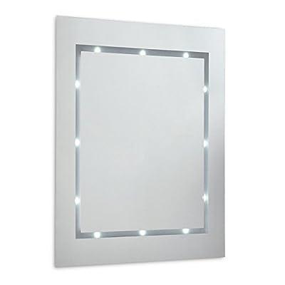 Modern Slim LED Battery Operated Illuminating Rectangular Design Bathroom Mirror - IP44 Rated