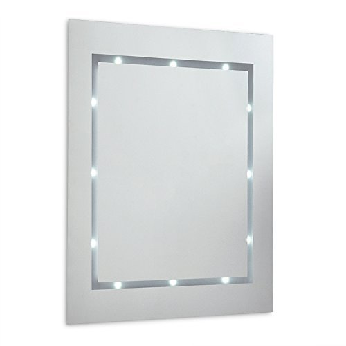 MiniSun - Moderno espejo con luz LED, de pared para el baño, ultra-fino, con repisa de cristal y a pilas