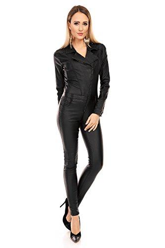 l Hose Leder Look Jumpsuit Catsuit Einteiler Langarm Pants B53 Schwarz M ()