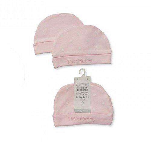 Per neonati a 3mesi Supersoft 100% cotone cappelli, confezione da 2, colore: rosa/bianco I Love Mummy Design