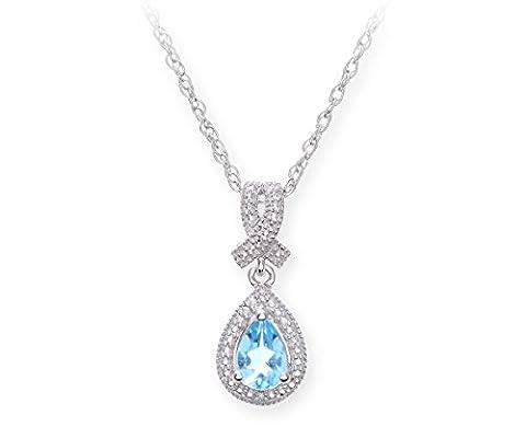 Theia Sterling Silver Drop Shape Swiss Blue Topaz Gem Stone Diamond Pendant 46cm Chain Necklace