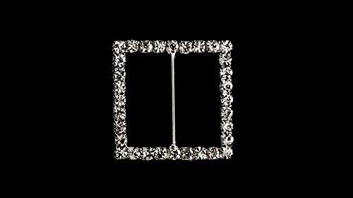 Strass Quadrato Cristallo Diamante Fibbia Scorrevole decorazioni per nastri inviti per festa matrimonio biglietti o lettere fashion accessori-32mm x 32mm (circa)-145, Clear, Set of 10 - Diamante Del Nastro Scorrevole