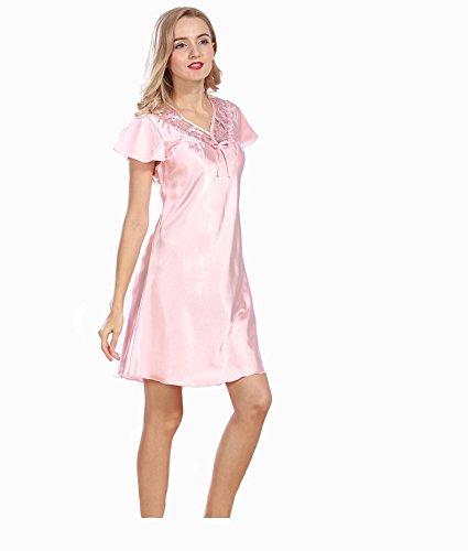 FGDJTYYJ Pakamo Damen V Neck Sommer Nachtwäsche - Lace Short Sleeve Pyjama Sexy Satin & Seide & Slips Nachtwäsche Solid Colored, - Lace Short Sleeve Kostüm